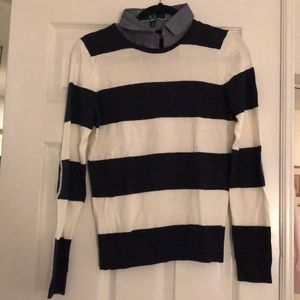 Striped sweater w/demin shirt collar